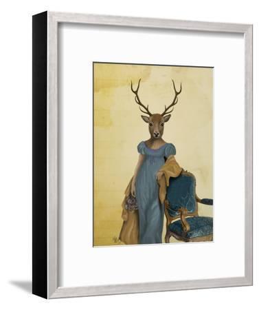 Deer in Blue Dress-Fab Funky-Framed Art Print