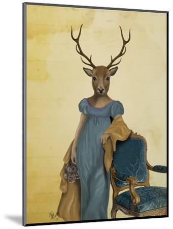 Deer in Blue Dress-Fab Funky-Mounted Art Print