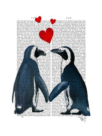 Penguins with Love Hearts-Fab Funky-Framed Art Print