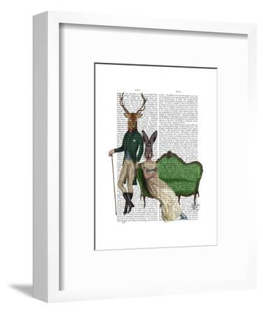 Mr Deer and Mrs Rabbit-Fab Funky-Framed Art Print