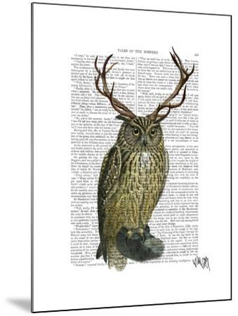 Owl with Antlers plain-Fab Funky-Mounted Art Print