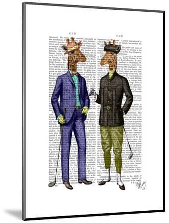 Golfing Giraffes-Fab Funky-Mounted Art Print