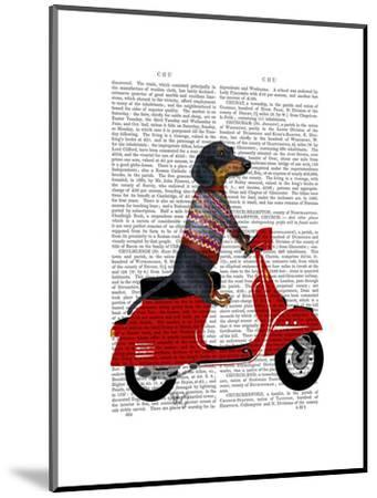 Dachshund on a Moped-Fab Funky-Mounted Art Print