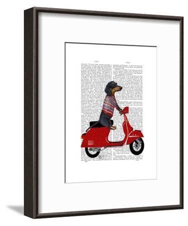 Dachshund on a Moped-Fab Funky-Framed Art Print