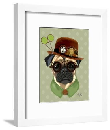 Pug with Steampunk Bowler Hat-Fab Funky-Framed Art Print