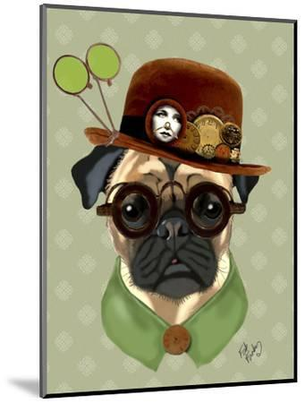 Pug with Steampunk Bowler Hat-Fab Funky-Mounted Art Print