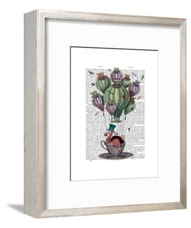 Dodo in Teacup with Dragonflies-Fab Funky-Framed Art Print