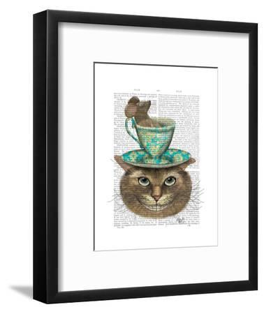 Cheshire Cat with Cup on Head-Fab Funky-Framed Art Print