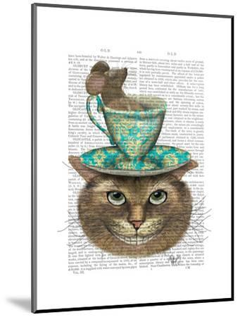 Cheshire Cat with Cup on Head-Fab Funky-Mounted Art Print