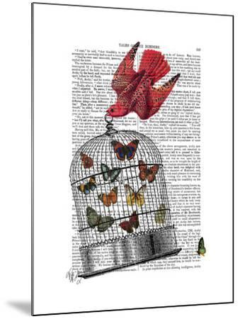 Flying Birdcage-Fab Funky-Mounted Art Print