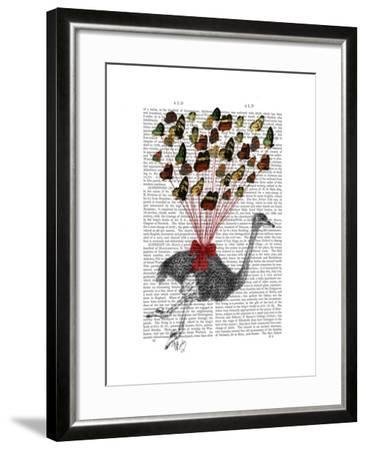 Ostrich Flying with Butterflies-Fab Funky-Framed Art Print