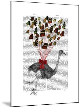 Ostrich Flying with Butterflies-Fab Funky-Mounted Art Print