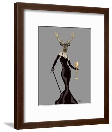 Glamour Deer in Black-Fab Funky-Framed Art Print
