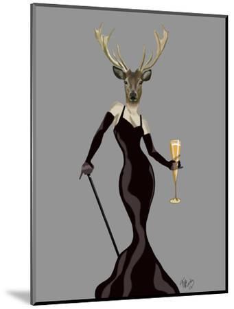 Glamour Deer in Black-Fab Funky-Mounted Art Print