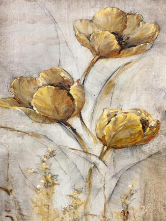 Golden Poppies on Taupe I-Tim O'toole-Framed Art Print