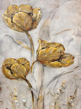 Golden Poppies on Taupe II-Tim O'toole-Framed Art Print