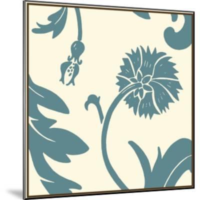 Teal Floral Motif III-Chariklia Zarris-Mounted Art Print