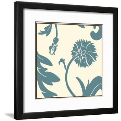 Teal Floral Motif III-Chariklia Zarris-Framed Art Print