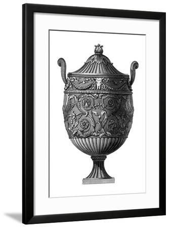 Black and White Urn III--Framed Art Print