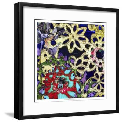 Bejeweled Woodblock IV-Ricki Mountain-Framed Art Print