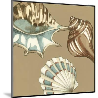 Small Shell Trio on Khaki III-Megan Meagher-Mounted Art Print