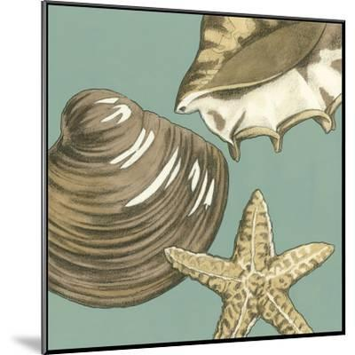 Small Shell Trio on Blue IV-Megan Meagher-Mounted Art Print