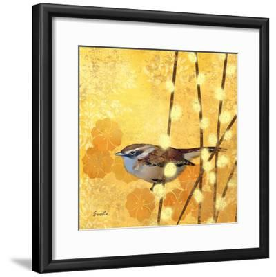 Wren on Yellow I-Evelia Designs-Framed Art Print