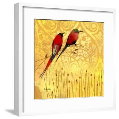 Wren on Yellow II-Evelia Designs-Framed Art Print