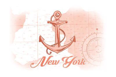 New York - Anchor - Coral - Coastal Icon-Lantern Press-Framed Art Print