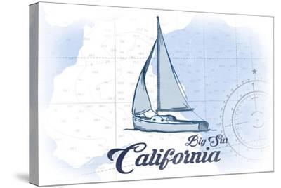 Big Sur, California - Sailboat - Blue - Coastal Icon-Lantern Press-Stretched Canvas Print