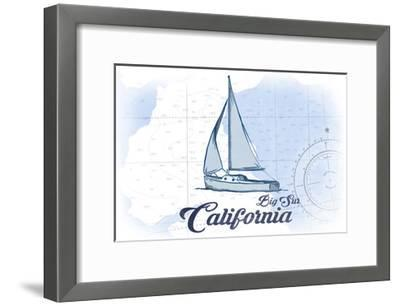 Big Sur, California - Sailboat - Blue - Coastal Icon-Lantern Press-Framed Art Print