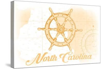 North Carolina - Ship Wheel - Yellow - Coastal Icon-Lantern Press-Stretched Canvas Print