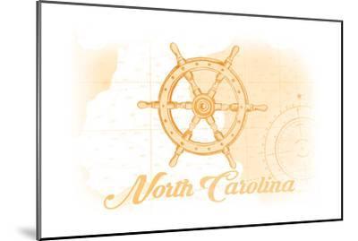 North Carolina - Ship Wheel - Yellow - Coastal Icon-Lantern Press-Mounted Art Print
