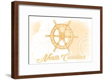 North Carolina - Ship Wheel - Yellow - Coastal Icon-Lantern Press-Framed Art Print