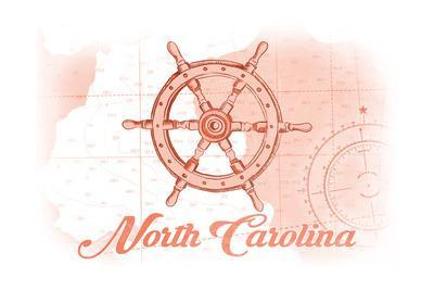 North Carolina - Ship Wheel - Coral - Coastal Icon-Lantern Press-Framed Art Print