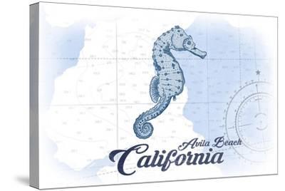 Avila Beach, California - Seahorse - Blue - Coastal Icon-Lantern Press-Stretched Canvas Print