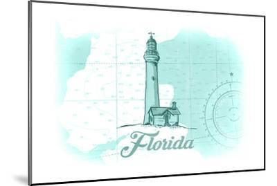 Florida - Lighthouse - Teal - Coastal Icon-Lantern Press-Mounted Art Print