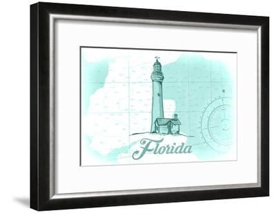 Florida - Lighthouse - Teal - Coastal Icon-Lantern Press-Framed Art Print