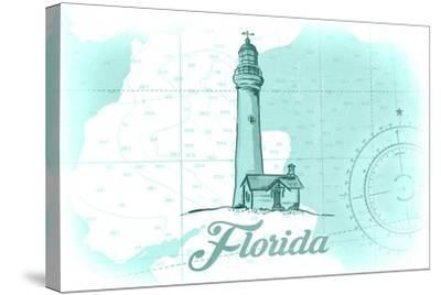 Florida - Lighthouse - Teal - Coastal Icon-Lantern Press-Stretched Canvas Print