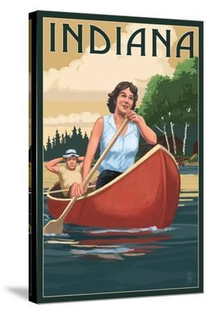 Indiana - Canoers on Lake-Lantern Press-Stretched Canvas Print