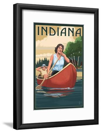 Indiana - Canoers on Lake-Lantern Press-Framed Art Print