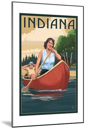 Indiana - Canoers on Lake-Lantern Press-Mounted Art Print