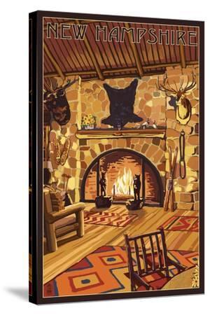 New Hampshire - Lodge Interior-Lantern Press-Stretched Canvas Print