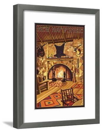 New Hampshire - Lodge Interior-Lantern Press-Framed Art Print