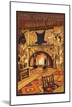 New Hampshire - Lodge Interior-Lantern Press-Mounted Art Print
