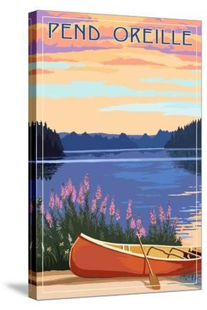 Pend Oreille, Idaho - Canoe and Lake-Lantern Press-Stretched Canvas Print