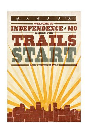 Independence, Missouri - Skyline and Sunburst Screenprint Style-Lantern Press-Framed Art Print