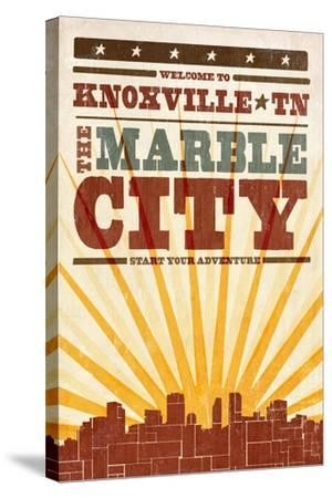Knoxville, Tennessee - Skyline and Sunburst Screenprint Style-Lantern Press-Stretched Canvas Print