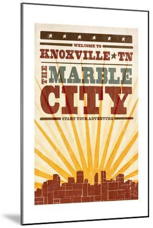 Knoxville, Tennessee - Skyline and Sunburst Screenprint Style-Lantern Press-Mounted Art Print