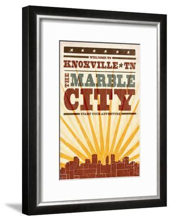 Knoxville, Tennessee - Skyline and Sunburst Screenprint Style-Lantern Press-Framed Art Print